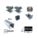 Kit Sistem autoportant cu sina zincata pentru deschidere de 4 metri, SAP-60x60-Zn