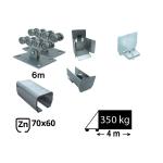 Kit Sistem autoportant cu sina zincata pentru deschidere de 4 metri,  SAP-70x60-Zn