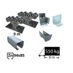 Kit Sistem autoportant cu sina zincata pentru deschidere de 8 metri, SAP-94x85-Zn