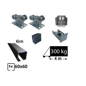 Kit Sistem autoportant cu sina de fier pentru deschidere de 4 metri, SAP-60x60-Fe