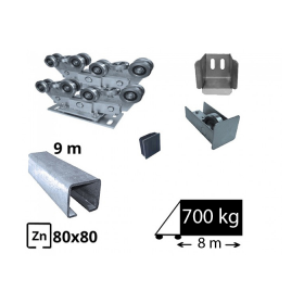 Kit Sistem autoportant cu sina zincata pentru deschidere de 8 metri, SAP-80x80H-Zn