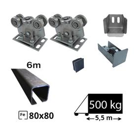 Kit Sistem autoportant cu sina de fier pentru deschidere de 5,5 metri, SAP-80x80-Fe