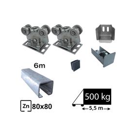 Kit Sistem autoportant cu sina zincata pentru deschidere de 5,5 metri, SAP-80x80-Zn