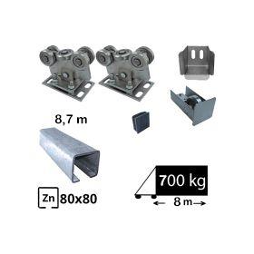 Kit Sistem autoportant cu sina zincata pentru deschidere de 8,7 metri, SAP-80x80D9-Zn